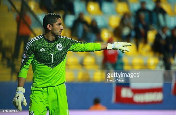 Jesus Corona Rodriguez of Mexico gives direction during the 2015 Copa America Chile Group A match between Mexico and Bolivia at Sausalito Stadium on...