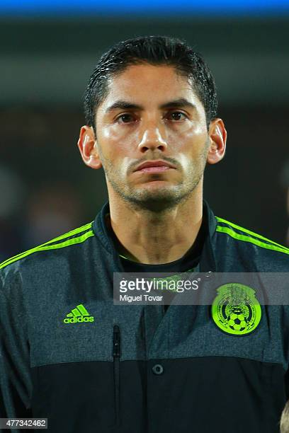 Jesus Corona Rodriguez of Mexico looks on during the national anthem ceremony prior the 2015 Copa America Chile Group A match between Chile and...