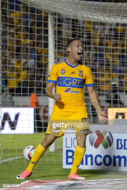 Jesus Dueñas of Tigres celebrates after scoring his team's third goal during the seventh round match between Tigres UANL and Lobos BUAP as part of...
