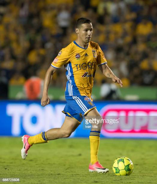 Jesus Dueñas of Tigres drives the ball during the Final first leg match between Tigres UANL and Chivas as part of the Torneo Clausura 2017 Liga MX at...