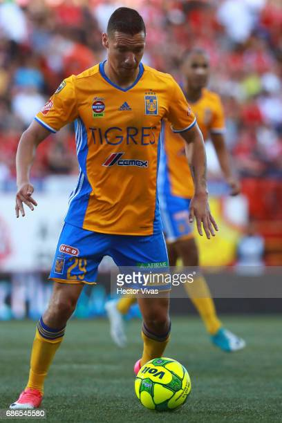 Jesus Dueñas of Tigres drives the ball during the semi finals second leg match between Tijuana and Tigres UANL as part of the Torneo Clausura 2017...
