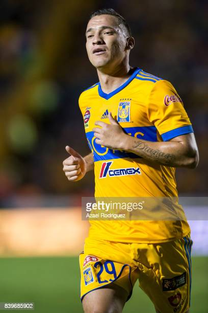 Jesus Dueñas of Tigres looks on during the seventh round match between Tigres UANL and Lobos BUAP as part of the Torneo Apertura 2017 Liga MX at...