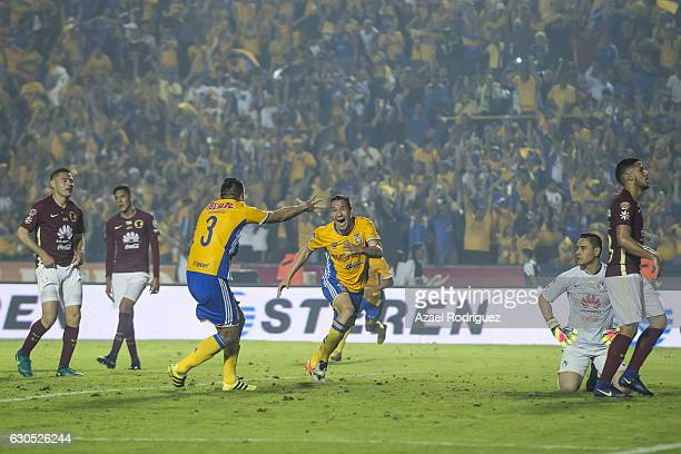 Jesus Duenas of Tigres celebrates after scoring his team's first goal and forces a round of penalties during the Final second leg match between...