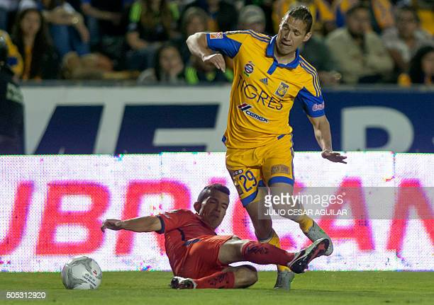 Jesus Duenas of Tigres vies for the ball with Juan Pablo Rodriguez of Morelia during their Mexican Clausura 2016 tournament football match at...