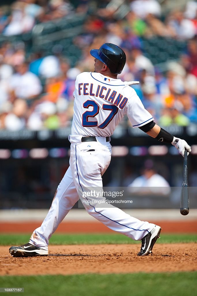 <a gi-track='captionPersonalityLinkClicked' href=/galleries/search?phrase=Jesus+Feliciano&family=editorial&specificpeople=5710825 ng-click='$event.stopPropagation()'>Jesus Feliciano</a> #27 of the New York Mets bats against the Minnesota Twins at Citi Field on June 27, 2010 in the Queens borough of New York City. The Mets defeated the Twins 6-0.