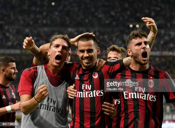Jesus Fernandez Saez Suso of AC Milan celebrates after scoring the second goal during the Serie A match between AC Milan and Cagliari Calcio at...