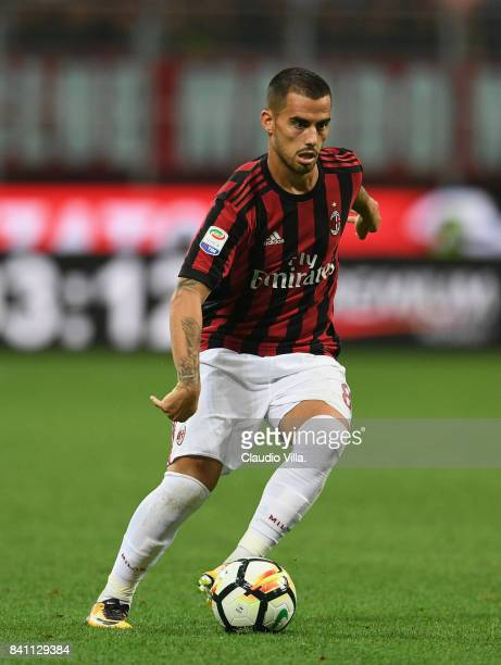 Jesus Fernandez Saez Suso of AC Milan in action during the Serie A match between AC Milan and Cagliari Calcio at Stadio Giuseppe Meazza on August 27...