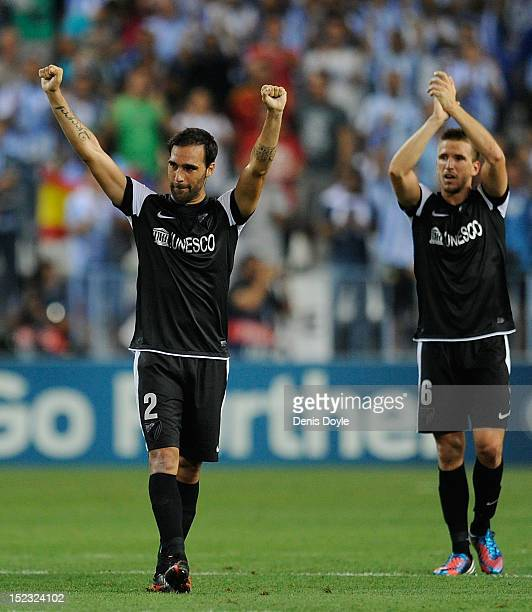 Jesus Gamez and Ignacio Camacho of Malaga CF celebrate after Malaga CF beat FC Zenit St Petersburg in the UEFA Champions League group C match at the...