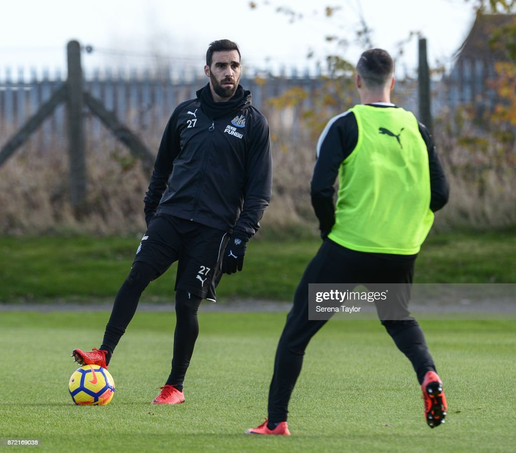 Jesus Gamez controls the ball during the Newcastle United Training session at the Newcastle Untied Training Centre on November 9, 2017 in Newcastle upon Tyne, England.