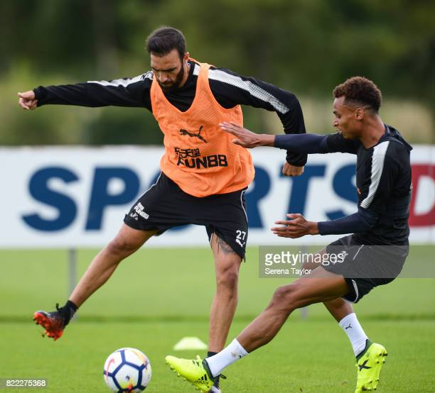 Jesus Gamez controls the ball whilst being pursued by Jacob Murphy during the Newcastle United Training session at the Newcastle United Training...