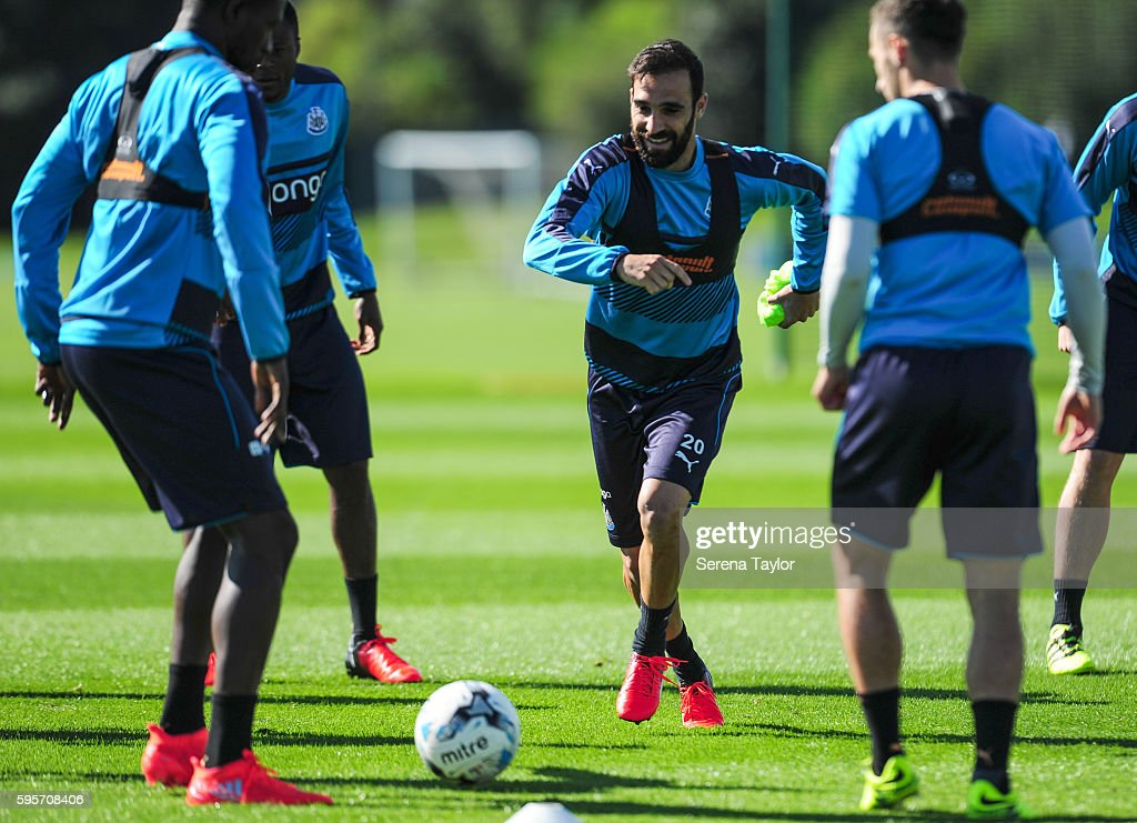 Jesus Gamez looks to close down the ball whilst playing boxes during the Newcastle United Training Session at The Newcastle United Training Centre on...