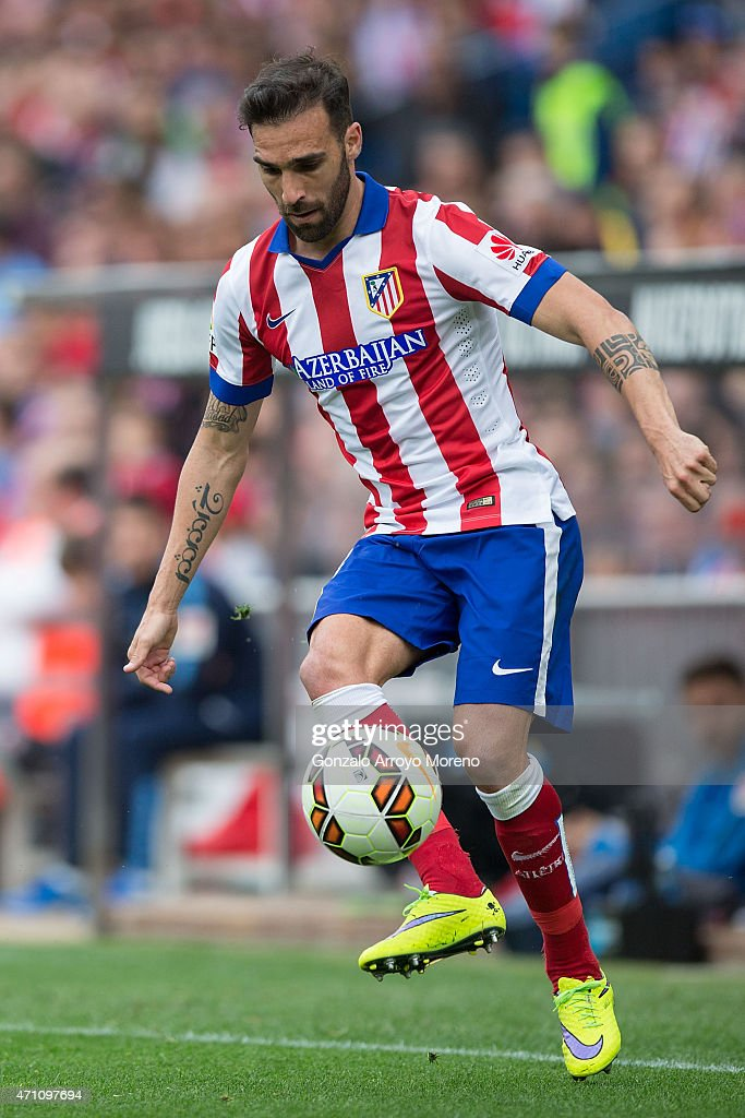 Jesus Gamez of Atletico de Madrid controls the ball during the La Liga match between Club Atletico de Madrid and Elche FC at Vicente Calderon Stadium on April 25, 2015 in Madrid, Spain.