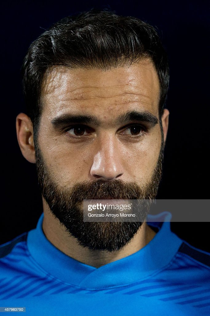 Jesus Gamez of Atletico de Madrid enters the pitch prior to start the La Liga match between Getafe CF and Club Atletico de Madrid at Coliseum Alfonso Perez on October 26, 2014 in Getafe, Spain.