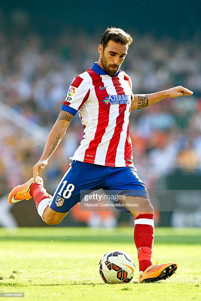 Jesus Gamez of Atletico de Madrid in action during the La Liga match between Valencia CF and Club Atletico de Madrid at Estadi de Mestalla on October 4, 2014 in Valencia, Spain.
