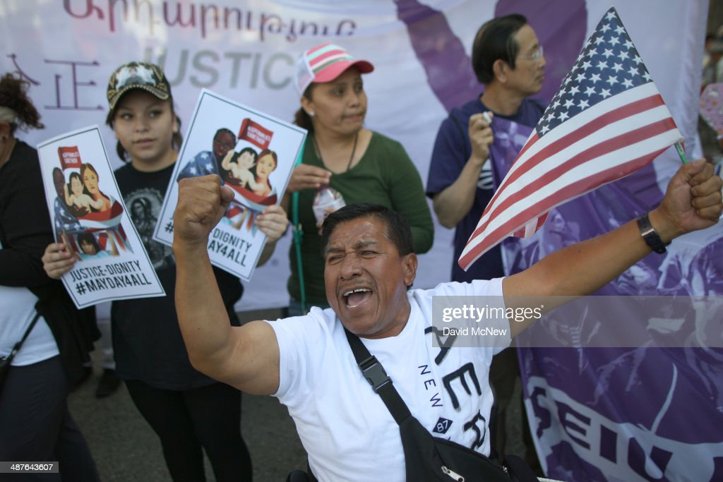 Jesus Garcia chants during one a several May Day immigrationthemed rallies on May 1 2014 in Los Angeles California Demonstrators are calling for...