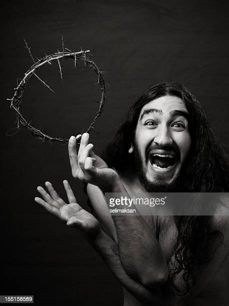 Jesus happy mit Dornenkrone