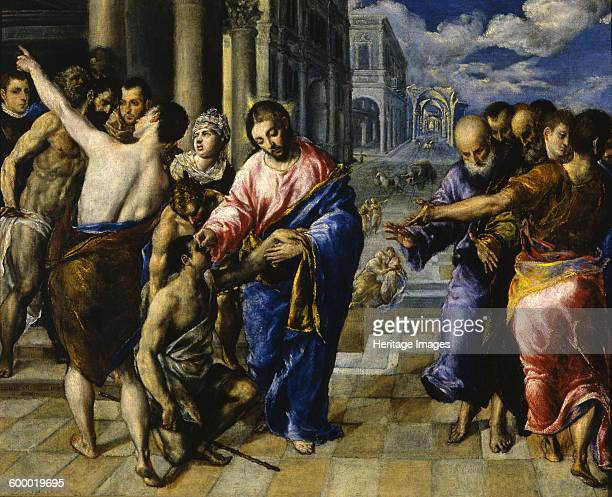 Jesus healing the blind man c 1573 Found in the collection of Galleria Nazionale Parma Artist El Greco Dominico