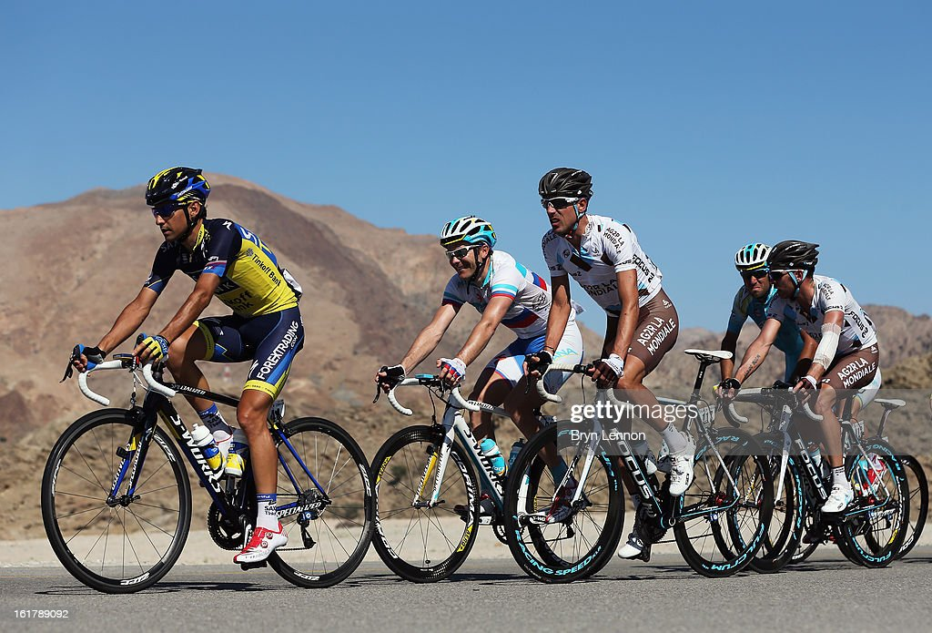 Jesus Hernandez of Spain and Team Saxo-Tinkoff rides in the peloton on stage six of the 2013 Tour of Oman from Hawit Nagam Park to the Matrah Corniche on February 16, 2013 in Matrah, Oman.