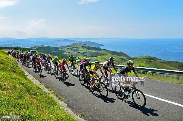 Jesus Herrada of Spain and Movistar Team leads the peloton as they head up Alto de Jaizkibel during the Clasica San Sebastian on August 2 2014 in San...