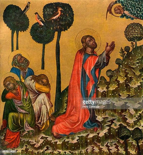 'Jesus in the Olive Grove' c1350 Tempera on wood Found in the collection of the National Gallery Prague A print from Gothic Painting in Bohemia...
