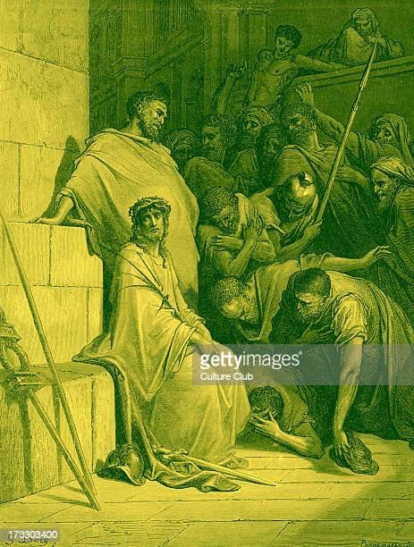 Jesus is mocked by Roman Soldiers before the crucifixion 'And they bowed the knee before Him and mocked Him saying 'Hail King of the Jews' Matthew...