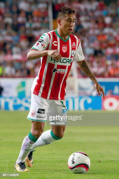 Jesus Isijara of Necaxa plays the ball during the 4th round match between Necaxa and Leon as part of the Torneo Apertura 2017 Liga MX at Victoria...