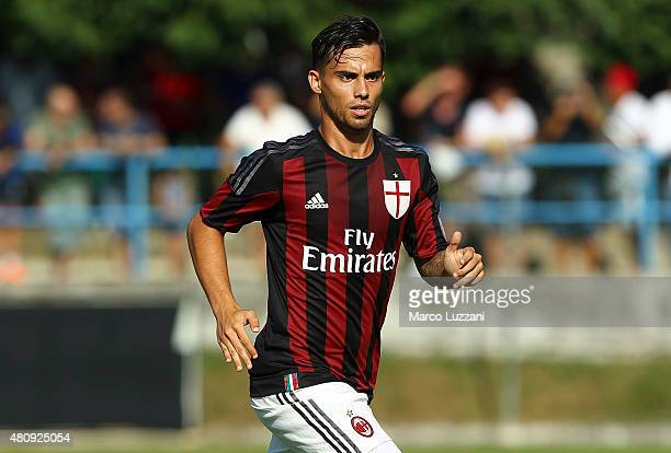 Jesus Joaquin Fernandez Saenz Suso of AC Milan looks on during the preseason friendly match between AC Milan and Legnano on July 14 2015 in Solbiate...