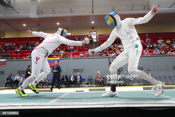 Jesus Limardo of Venezuela fences against Alessandro Taccani of Argentina during the gold medal match in the Team Men's Epee event on June 17 2017 at...