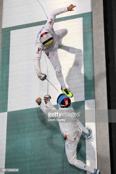 Jesus Limardo of Venezuela fences Jose Felix Dominguez of Argentina during the gold medal match of the Team Men's Epee event on June 17 2017 at the...