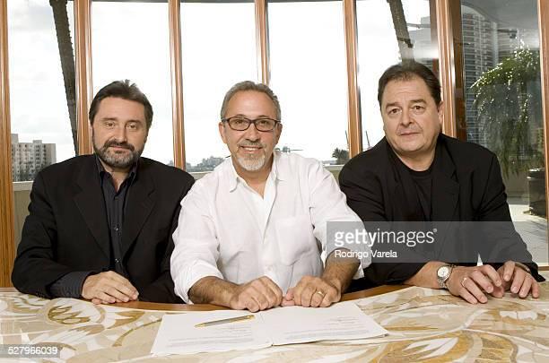 Jesus Lopez chairman of Universal Music Latin America Emilio Estefan and John Echevarria president of Universal Music LatinoE