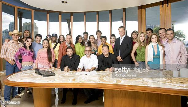 Jesus Lopez chairman of Universal Music Latin America Emilio Estefan John Echevarria president of Universal Music LatinoEand the 20 contestants of...