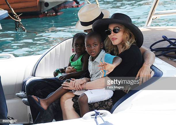 Jesus Luz holding Mercy James and Madonna with son David Banda are sighted on August 17 2009 in Portofino Italy