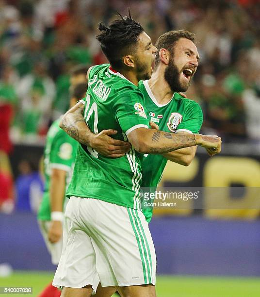 Jesus Manuel Corona of Mexico celebrates a second half goal with his teammate Miguel Layun during the 2016 Copa America Centenario Group match...