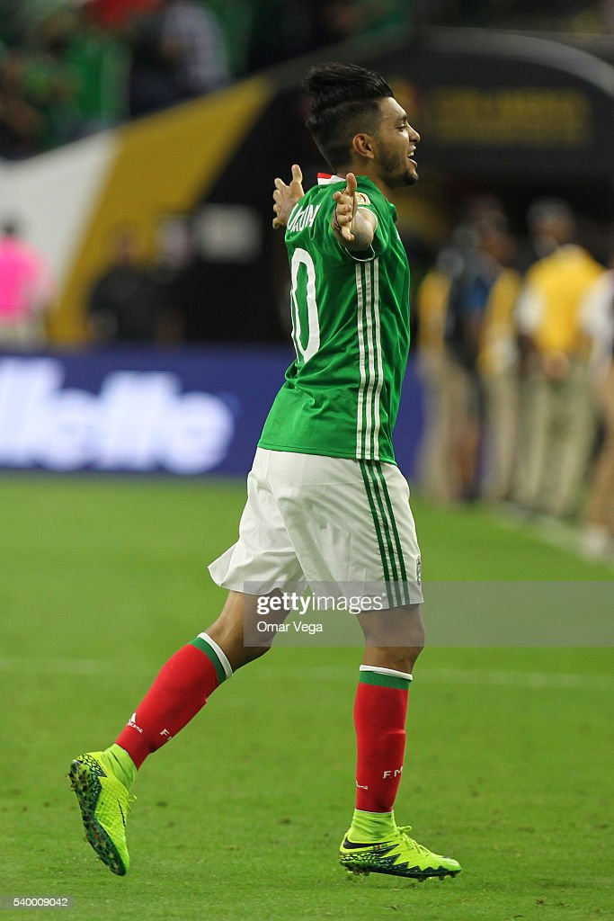 Jesus Manuel Corona of Mexico celebrates after scoring the first goal of his team during a group C match between Mexico and Venezuela at NRG Stadium...