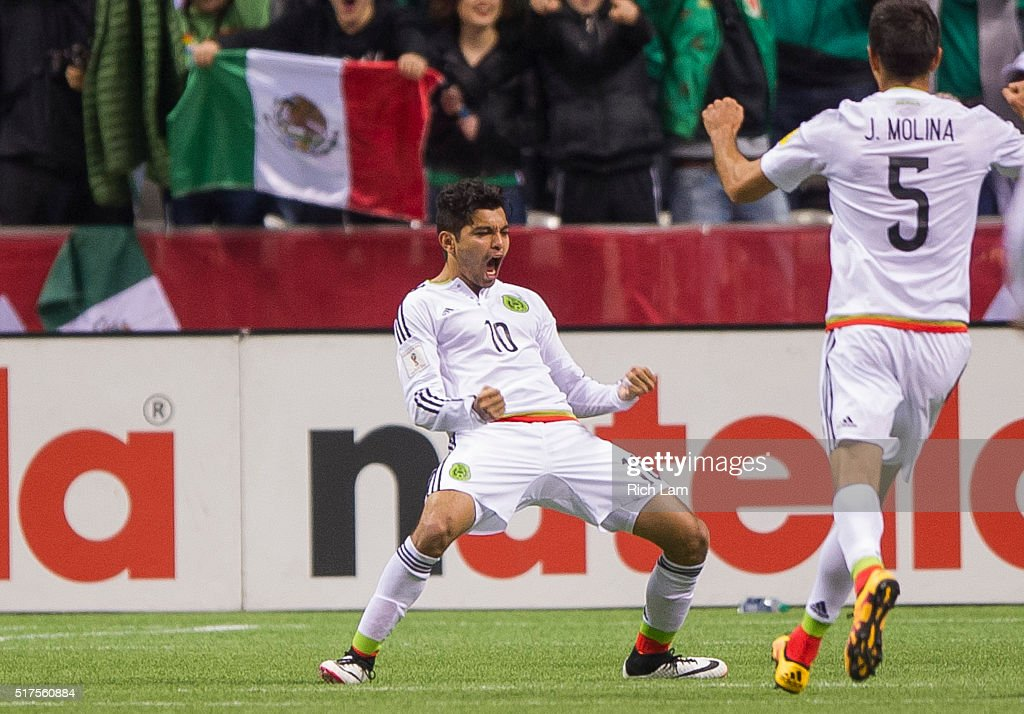 Jesus Manuel Corona of Mexico celebrates with Jesus Molina after scoring a goal against Canada during FIFA 2018 World Cup Qualifier soccer action at...
