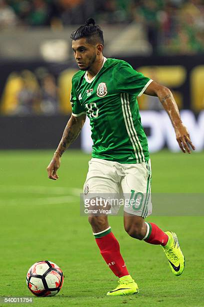 Jesus Manuel Corona of Mexico drives the ball during a group C match between Mexico and Venezuela at NRG Stadium as part of Copa America Centenario...