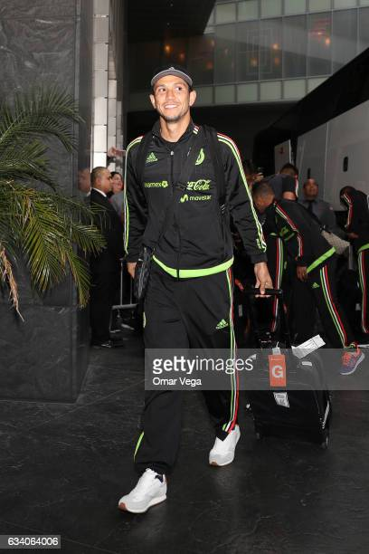 Jesus Molina gestures during the Mexico's National Team arrival at Mandarin Oriental Hotel on February 06 2017 in Las Vegas United States Mexico will...