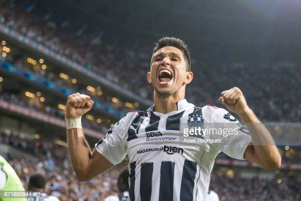 Jesus Molina of Monterrey reacts after teammate Cesar Montes scored his team's first goal during the 15th round match between Monterrey and Tigres...