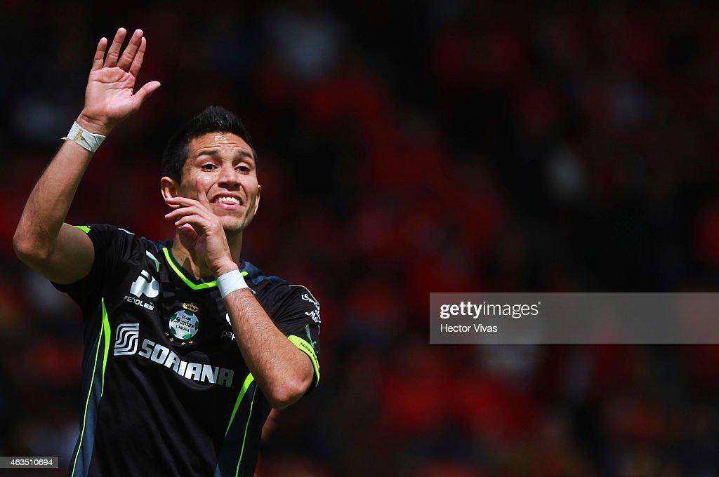 Jesus Molina of Santos Laguna reacts during a match between Toluca and Santos Laguna as part of 6th round Clausura 2015 Liga MX at Nemesio Diez Stadium on February 15, 2015 in Toluca, Mexico.