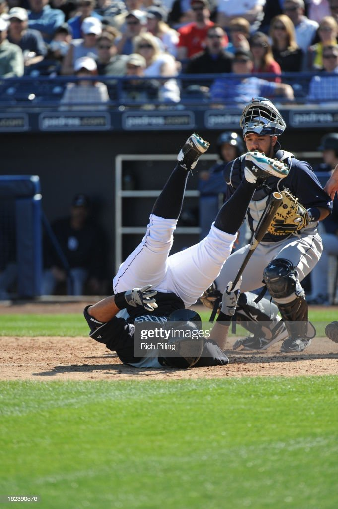 <a gi-track='captionPersonalityLinkClicked' href=/galleries/search?phrase=Jesus+Montero&family=editorial&specificpeople=4900196 ng-click='$event.stopPropagation()'>Jesus Montero</a> #63 of the Seattle Mariners is hit by a pitch during the game against the San Diego Padres on Friday, February 22, 2013 at the Peoria Sports Complex in Peoria, Arizona. The Padres defeated the Mariners 9-3.