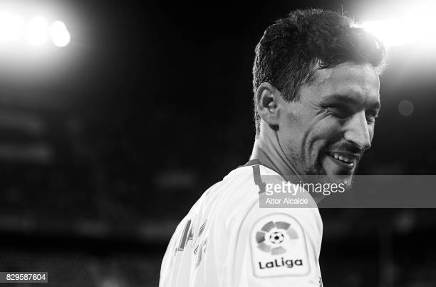 Jesus Navas looks on during a Pre Season Friendly match between Sevilla FC and AS Roma at Estadio Ramon Sanchez Pizjuan on August 10 2017 in Seville...