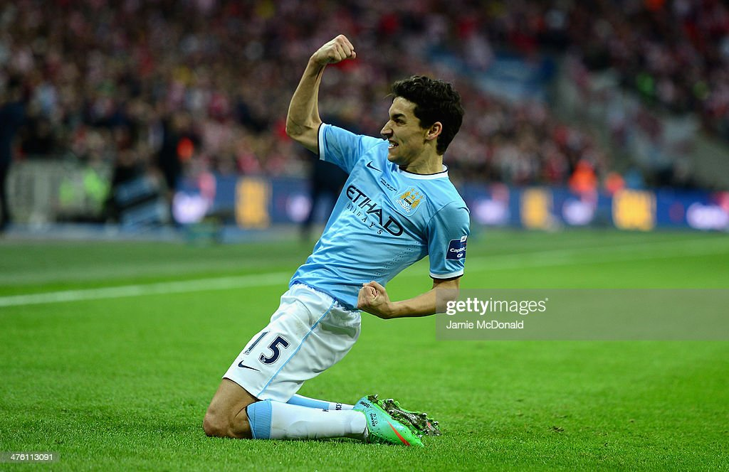 Jesus Navas of Manchester City celebrates after scoring his team's third goal during the Capital One Cup Final between Manchester City and Sunderland at Wembley Stadium on March 2, 2014 in London, England.
