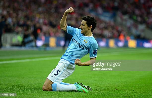 Jesus Navas of Manchester City celebrates after scoring his team's third goal during the Capital One Cup Final between Manchester City and Sunderland...