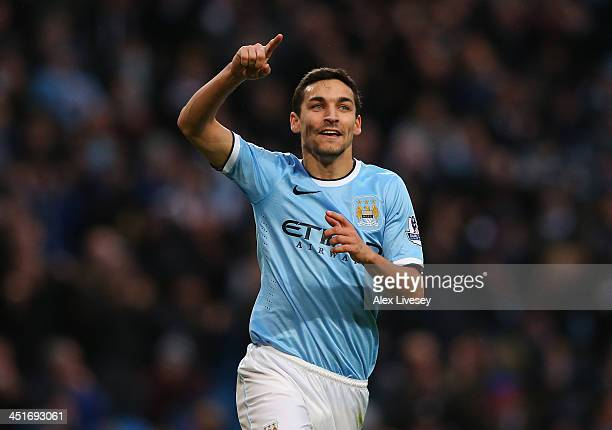 Jesus Navas of Manchester City celebrates after scoring the sixth goal during the Barclays Premier League match between Manchester City and Tottenham...