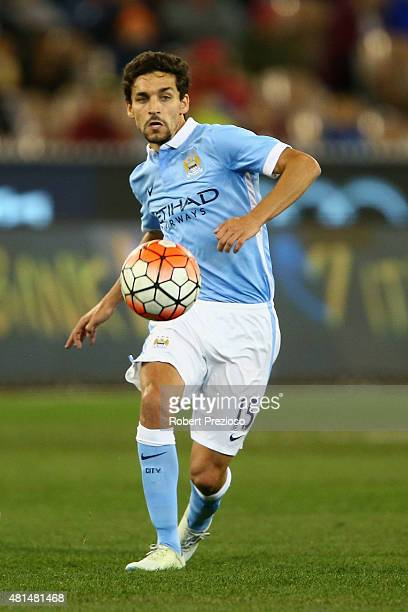 Jesus Navas of Manchester City controls the ball during the International Champions Cup friendly match between Manchester City and AS Roma at the...