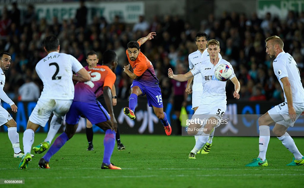 Jesus Navas of Manchester City in action during the EFL Cup Third Round match between Swansea City and Manchester City at the Liberty Stadium on September 21, 2016 in Swansea, Wales.