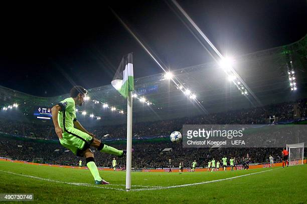 Jesus Navas of Manchester City kicks a corner during the UEFA Champions League Group D match between VfL Borussia Monchengladbach and Manchester City...