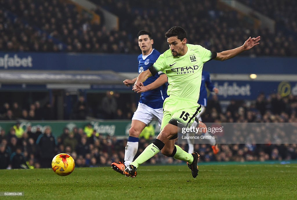 Jesus Navas of Manchester City scores his team's first goal during the Capital One Cup Semi Final First Leg match between Everton and Manchester City at Goodison Park on January 6, 2016 in Liverpool, England.
