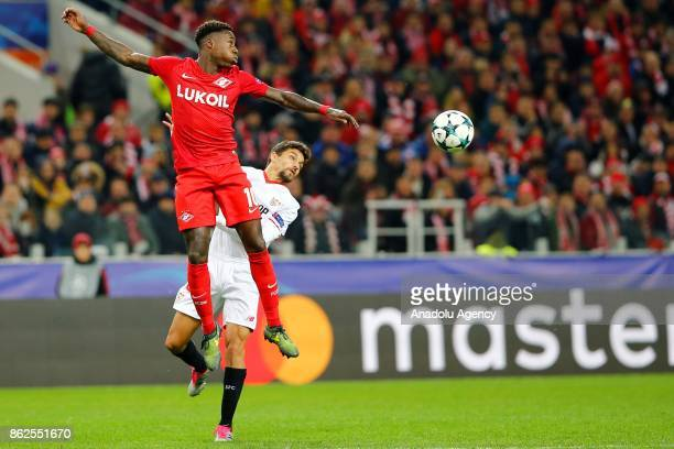 Jesus Navas of Sevilla and Promes of Spartak Moscow in action during the UEFA Champions League match between Spartak Moscow and Sevilla FC at Spartak...