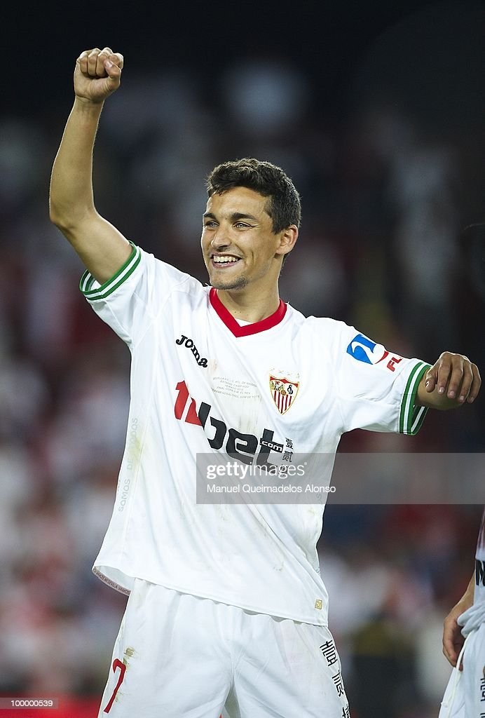 Jesus Navas of Sevilla celebrates after winning the Copa del Rey final between Atletico de Madrid and Sevilla at Camp Nou stadium on May 19, 2010 in Barcelona, Spain. Sevilla won 2-0.